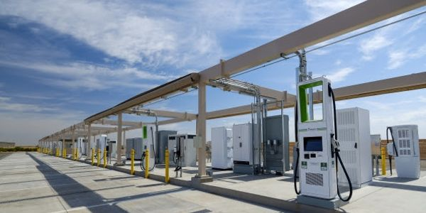 The 50-space charging station is located at the global test facility in Maricopa, Ariz., — one...
