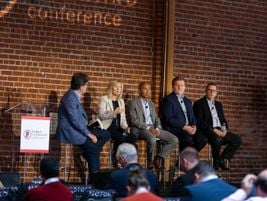 "Michelle Moody of Ford Commercial Solutions makes a point during her panel on ""The Future of..."