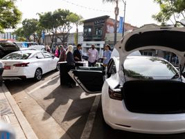 The Vehicle Technology Experience had vehicle displays from Tesla, Nissan, and Spiffy, a mobile...