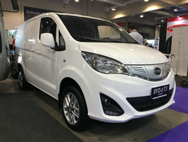 BYD also displayed its eT3 all-electric work van, which gets 215 km (133 miles) on a...
