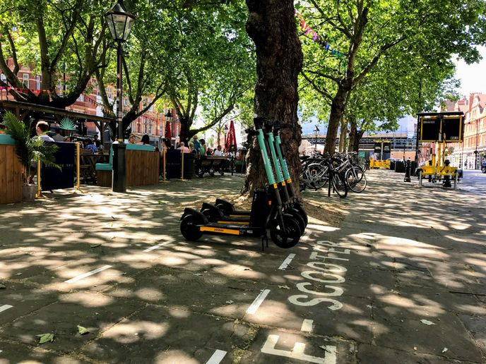 E-scooter trial in London includes designated parking areas. - Credit: Ralph Morton