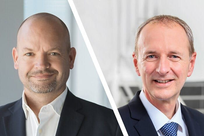 Jörg Burzer, (left) member of the Board of Management of Mercedes-Benz AG, production and supply chain, and German Wankmiller, GROB-WERKE board chair and CEO. - Credit: Mercedes-Benz