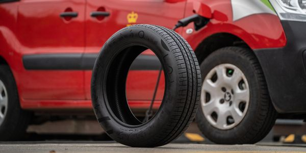 One of the ENSO emission reducing tires to be used during the Royal Mail fleet trial.