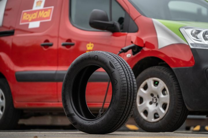 One of the ENSO emission reducing tires to be used during the Royal Mail fleet trial. - Credit: Royal Mail