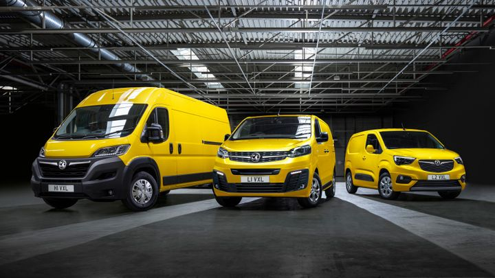 The UK Commercial Vehicle Show sees global debuts for the Movano-e (left) and Combo-e (right) flanking the already-on-sale Vivaro-e. - Credit: Vauxhall Motors.