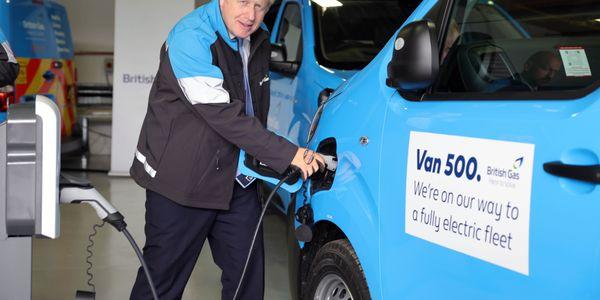 Prime Minister Boris Johnson charges up the 500th British Gas EV van.