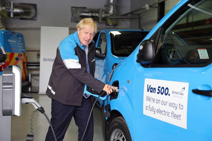 Prime Minister Boris Johnson charges up the 500th British Gas EV van. - Credit: British Gas