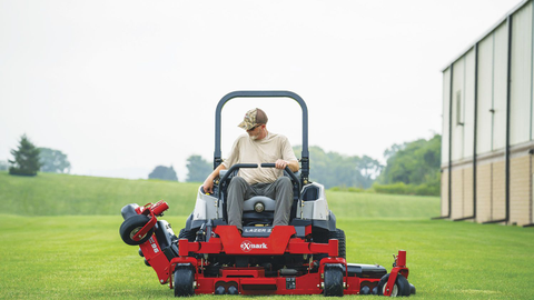 Exmark's Lazer Z Diesel mower features a three-section wing-style cutting deck that provides...