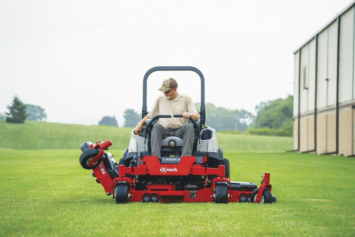Exmark's Lazer Z Diesel mower features a three-section wing-style cutting deck that provides 96-inches of total cut width.