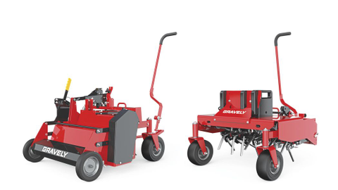 The new aerator (left) and dethatcher (right) attachments are used for lawn care.
