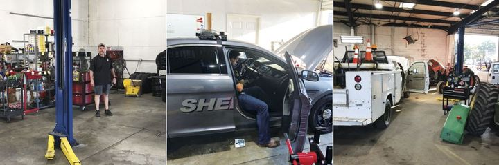 Jackson County's Fleet Maintenance department uses inmate labor in a number of ways, including general labor, small engine maintenance, paint and body repair, welding and fabrication, as well as light-duty vehicle and heavy-duty equipment repair. Pictured at left is Barron Varner, an officer and mechanic for the Sheriff's Office. - ​Photo courtesy of Jackson County