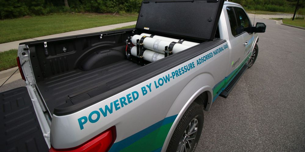 This F-150 plug-in hybrid adsorbed natural gas bi-fuel vehicle has a compressed natural gas...