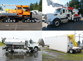 As a transmission utility, Bonneville Power Administration has larger equipment than distribution utilities. Some of its fleet includes (clockwise from top left) a Tucker Sno-Cat, a 95-foot digger derrick, a 17,000-gallon storage tanker, and a 3,000-gallon aviation refueler.