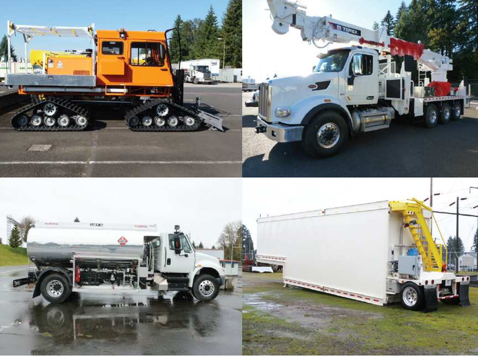 As a transmission utility, Bonneville Power Administration has larger equipment than distribution utilities. Some of its fleet includes (clockwise from top left) a Tucker Sno-Cat, a 95-foot digger derrick, a 17,000-­gallon storage tanker, and a 3,000-gallon aviation refueler.