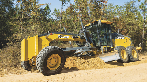 The 622GP motor grader is a six-wheel-drive machine with available SmartGrade.