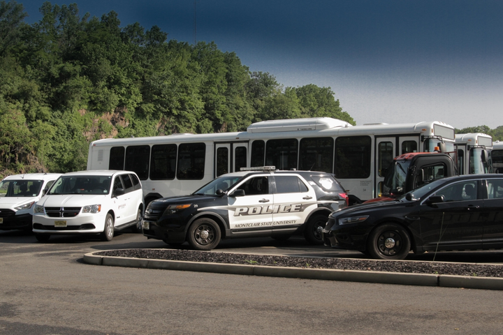 The Montclair State University fleet includes passenger vehicles, vocational trucks, buses, and police vehicles.  - Photo courtesy of Montclair State University