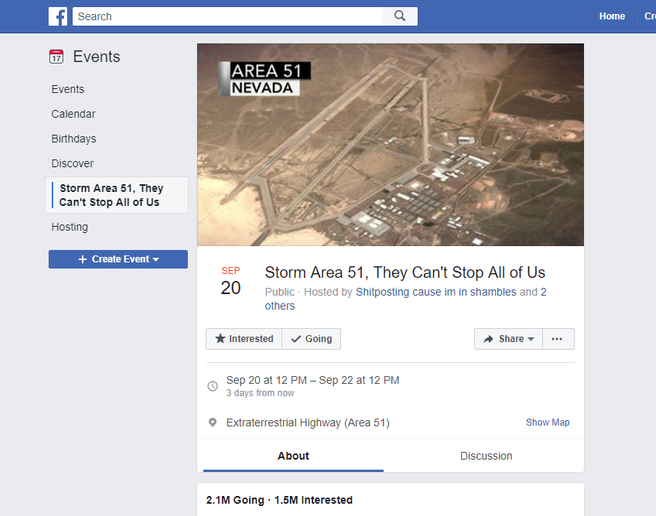 More than 2 million people said they would go to the original Facebook event to storm Area 51.