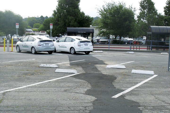 Long-distance trenching, like at this parking lot, can drive up the cost of an EV charging station installation.  - Photo courtesy of David Worthington