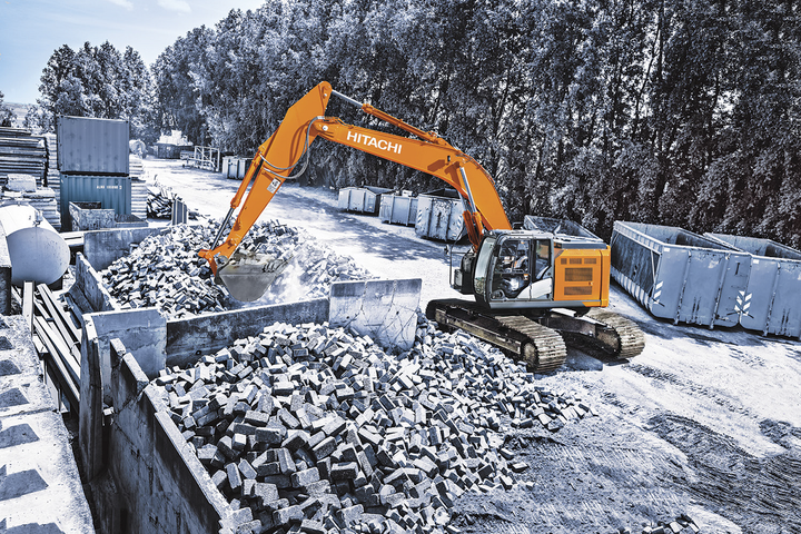 The tight-tail-swing radius of the company's newest excavator can help government operators leave a small footprint for quick work. - Photo courtesy of Hitachi