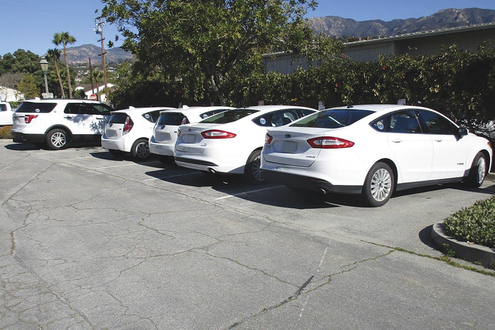 Most rideshare vehicles belong to the motor pool and can be checked out for city business during the day. - Photo courtesy of Santa Barbara County