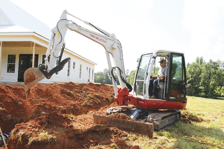 Operator comfort is one of the four pillars of Takeuchi's latest excavator, featuring a high-back suspension seat and low-effort pilot controls. - Photo courtesy of Takeuchi