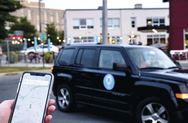Washington, D.C. employees working for participating departments can hail a ride using the Via app, which costs less than other forms of transportation, including taxis or renting out a motor pool vehicle. - Photo courtesy of Via Transportation