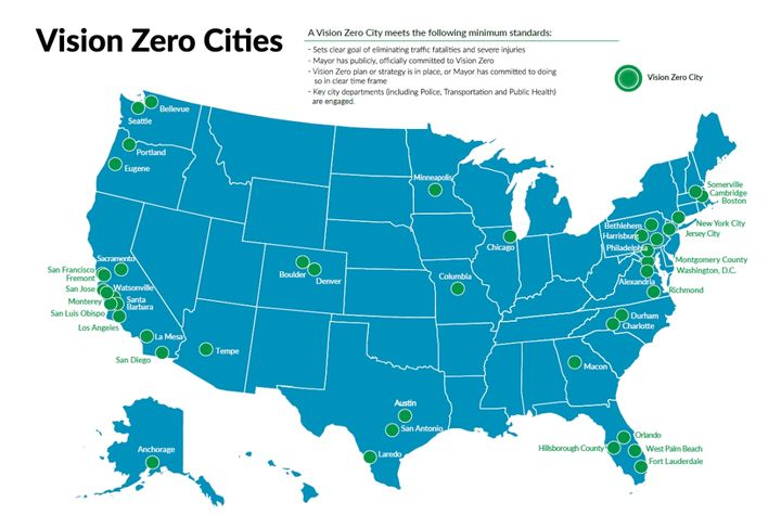 More than 40 communities nationwide have Vision Zero programs. - Image courtesy of Vision Zero Network