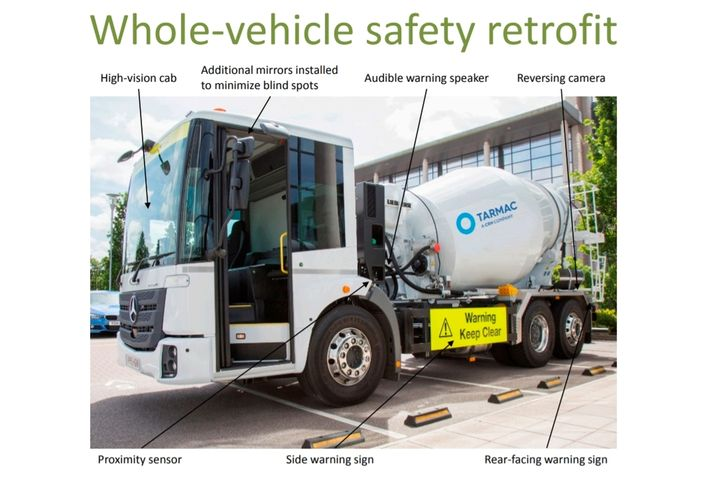 High vision (cabover) trucks and additional mirrors can increase drivers' field of