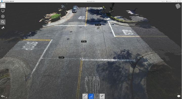 Pictured is an orthomosaic drone map of an intersection where an accident occurred. This is the drone point cloud in Autodesk Recap showing how the reconstruction experts can instantly acquire accurate measurements from the point cloud. - Photo: DJI