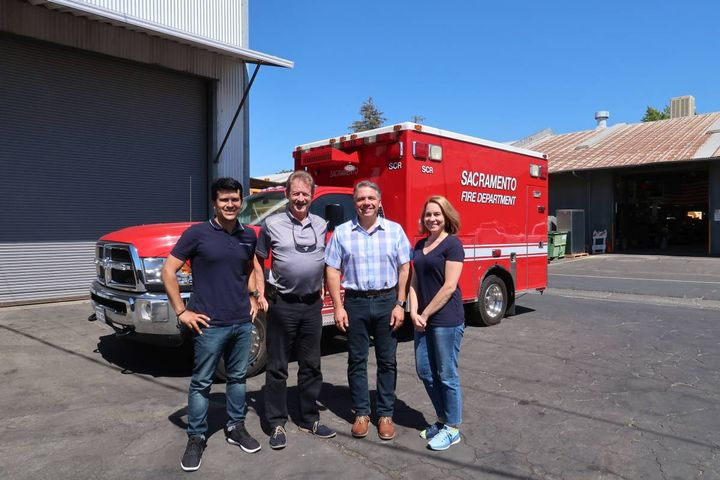 Mark Stevens (second from left) is pictured here with some of the Sacramento fleet administrative staff (l-r): Kin Morales, program specialist; Ron Kammerer, operations general supervisor; and Alison Kerstetter, program specialist. - PHOTOS: CITY OF SACRAMENTO