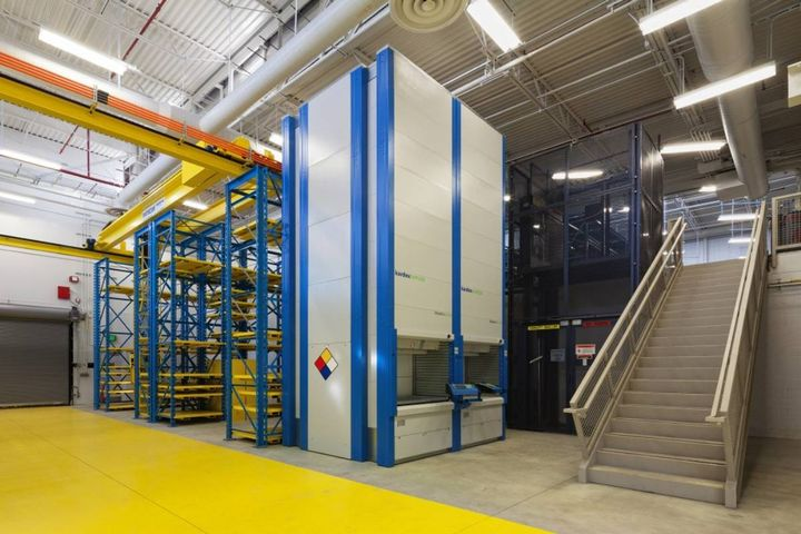 Modern parts rooms like this multilevel option with palletized systems and vertical lift modules will be important during transitions, as more parts are needed to maintain multiple types of vehicles. - Photo: HDR