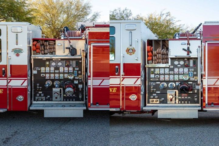Before (left) and after (right): the lower crosslay beds ensure firefighters won't have to jump up onto the fire truck, and enable them to reach what they need at ground level. - Photo: City of Tucson Fire Fleet Management Department