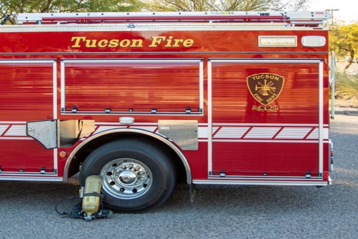 """We modified the existing SCBA cylinder storage compartments on the exterior of the truck so that the complete SCBA can now be stored in these compartments when returning from a fire call. This modification has further ensured the cab remains clean and safe,"" says Drake. - Photo: City of Tucson Fire Fleet Management Department"