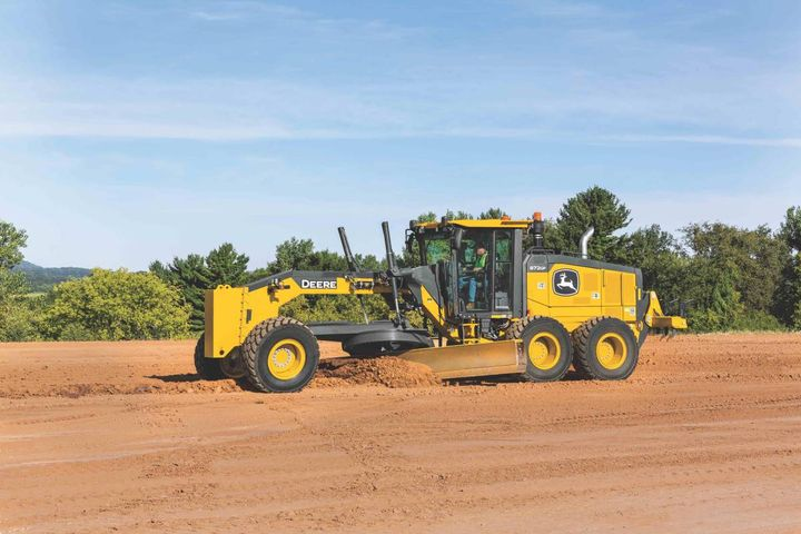John Deere's G and GP-series motor grader upgrades include a Premium Circle option that replaces wear inserts with a sealed bearing.  - Photo: John Deere