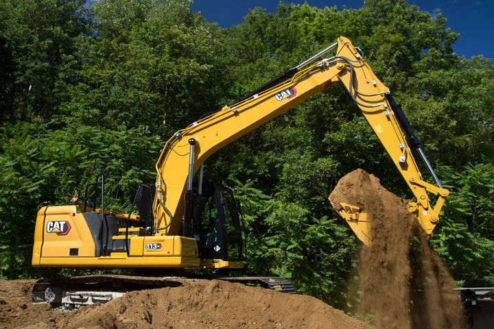 Caterpillar's 313 and 313 GC excavators include safety features such as the ability for users to perform ground-­level maintenance.  - Photo: Caterpillar