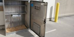 A parts cabinet streamlines deliveries and reduces interaction with delivery drivers.