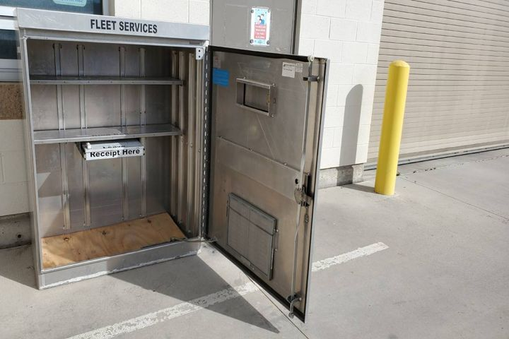 A parts cabinet streamlines deliveries and reduces interaction with delivery drivers. - Photo: City of Orem, Utah