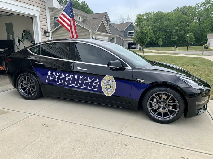 The Bargersville Police Department has four Teslas in its patrol fleet. - Image: Greater Indiana Clean Cities