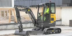 The electric excavator produces no exhaust emisssions and is quieter than diesel machines.