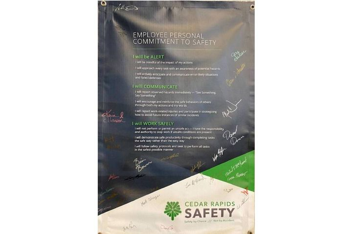 The Fleet Division banner is proudly displayed at the fleet garage of the City Services Center as a constant reminder to operate safely. - Photo: City of Cedar Rapids