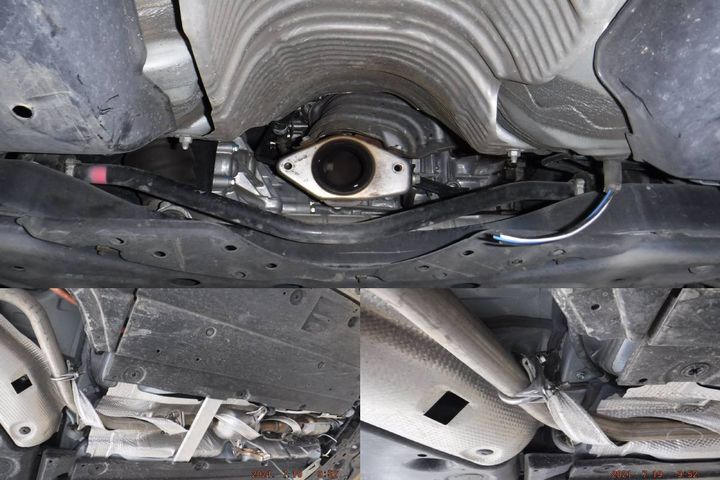 (Clockwise from top)This is what the exhaust of a Prius looks like after its catalytic converter is stolen;The County of Sacramento has installed the CatStrap on multiple Prii;Here, a clamp has been added for additional security with the clamp nuts welded. - Photos:County of Sacramento