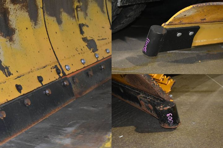 (Clockwise from top)Seen here are examples of a new shoe, an old shoe, and a plow blade. - Photos: Village of Mount Prospect