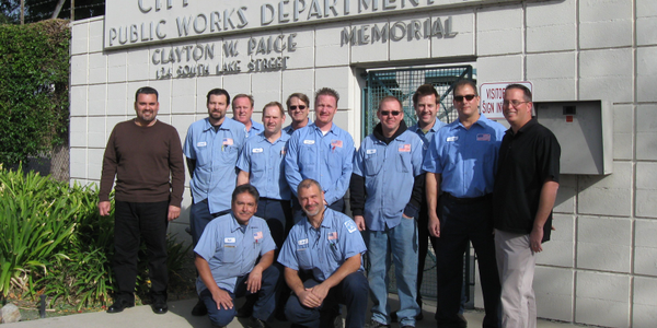Fleet employees at the City of Burbank are: (front row, l-r) Raul Martinez, Art Derzakharian;...