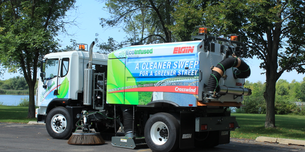 Regenerative air sweepers, such as this Elgin Crosswind sweeper, are typically used in municipal...