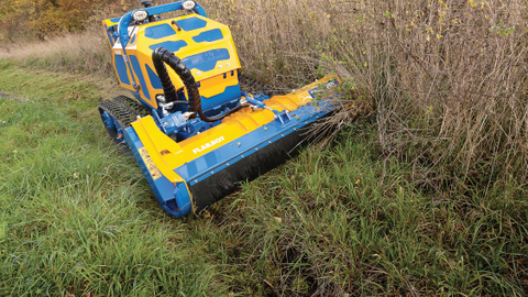 The remote-controlled Flailbot from Bomford Turner is equally adept at mowing on steep and flat...