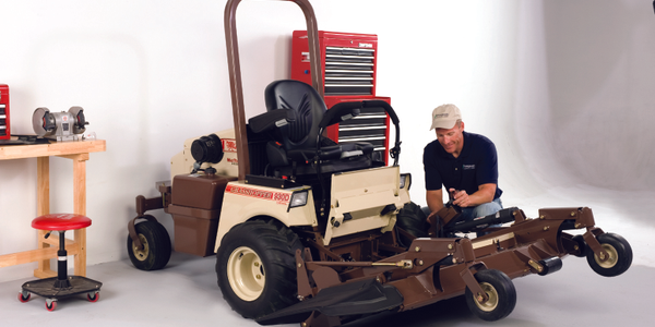 A power lift on Grasshopper front mount mowers facilitates accessibility to the underside of...