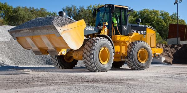 John Deere's 644K electric-hybrid wheel loader utilizes two sources of energy, diesel and...