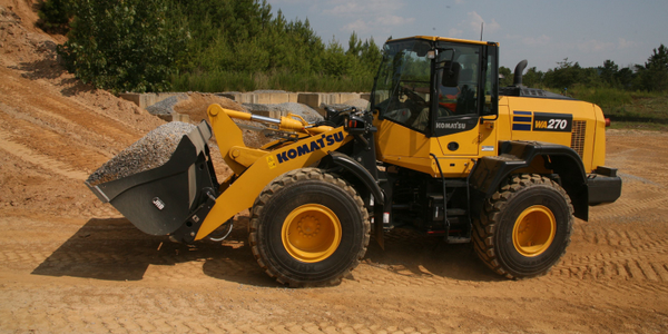 The Komatsu WA270-8 wheel loader is compact enough to operate in tight quarters, such as...