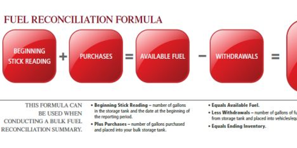 This formula can be used when conducting a bulk fuel reconciliation summary.
