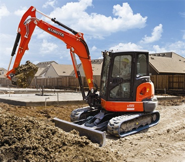 The Kubota U55 five-ton tight tail swing compact excavator is designed for work in tight jobsites.